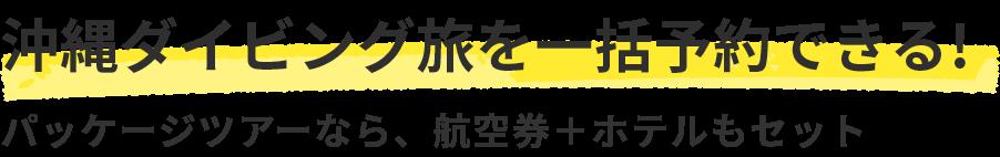 沖縄ダイビング旅を一括予約できる!